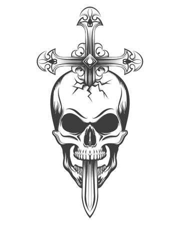 Human skull pierced by sword in the shape of a cross