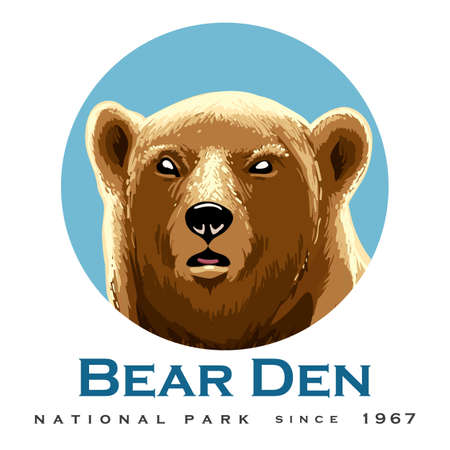 Wild Bear Head Emblem with wording Bear Den Vector Illustration.
