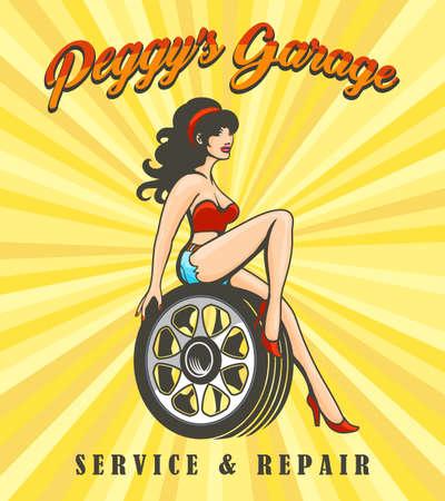 Ragazza sexy su tacchi alti che si siede sulla ruota di automobile. Servizio di garage e riparazione poster retrò. Illustrazione vettoriale. Vettoriali