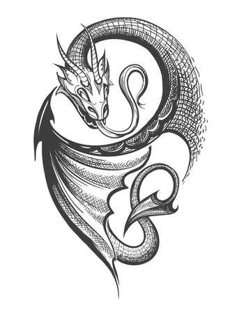Dragón hecho a mano dibujado en estilo de grabado de tatuaje. Ilustración de vector.