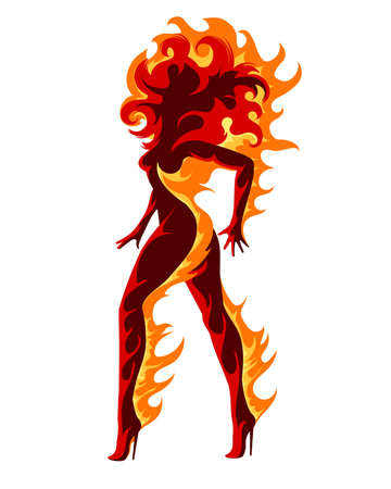 Woman silhouette in Flame. Symbol of Fire isolated on White background. Vector Illustration.
