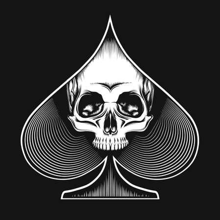 Menschlicher Schädel im Spatenanzug im Tattoo-Stil gezeichnet. Spielkarten- oder Casino-Konzept. Vektor-Illustration.