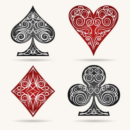 Dekorative Spielkartenanzüge Set. Vektor-Illustration.