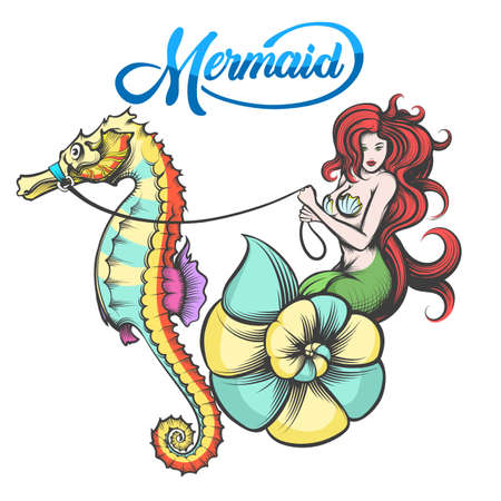 Redhair Mermaid in the shell controls the sea horse. Vector Illustration.