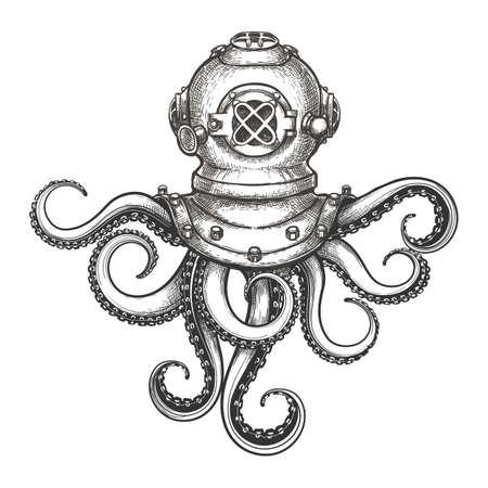 Casco de buzo con tentáculos de pulpo dibujados en estilo tatuaje. Ilustración de vector.