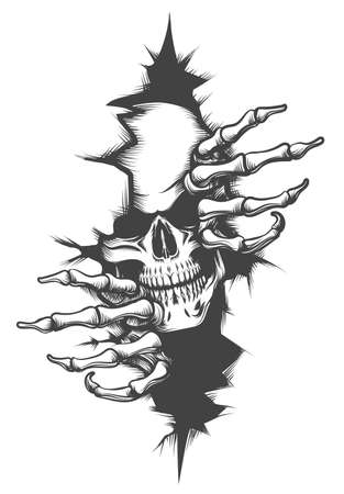 Human Skull peeping Through Hole drawn in tattoo style. Vector illustration. Vettoriali