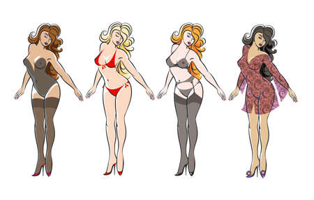 Conjunto de chicas guapas sexy en lencería aislado en blanco. Ilustración vectorial.