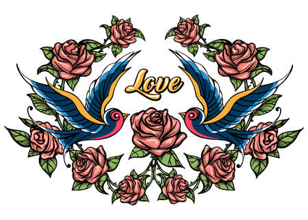 Two Birds and Roses with lettering Love. Vector illustration Drawn in Tattoo Style. Stock Illustratie