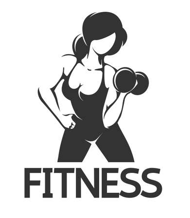 Fitness Emblem wth athletic Woman at Workout. Vector illustration.