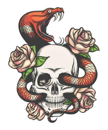 Diseño de tatuaje colorido con calavera, rosas y serpiente. Ilustración de vector.