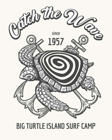 Sea Turtle and Crossed Anchors with wording Catch the Wave. Surfing camp or school emblem drawn in retro style. Vector illustration.
