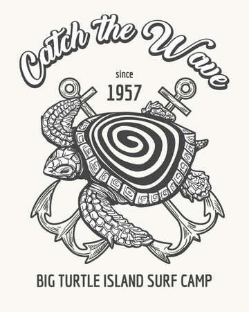 Tortuga marina y anclas cruzadas con el texto Catch the Wave. Campamento de surf o emblema de la escuela dibujado en estilo retro. Ilustración vectorial
