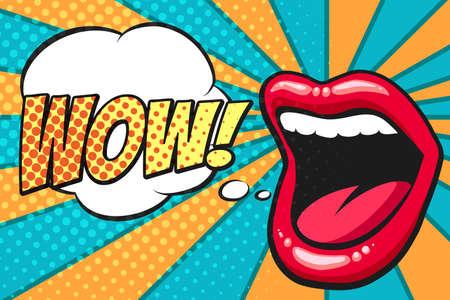 Boca femenina con bocadillo. Wow y labios femeninos en estilo pop art para publicidad o póster. Ilustración vectorial