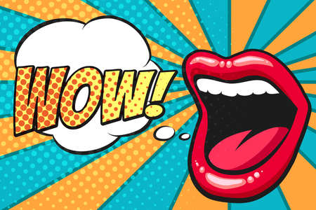 Vrouwelijke mond met tekstballon. Wauw en vrouwelijke lippen in pop-artstijl voor reclame of poster. Vector illustratie