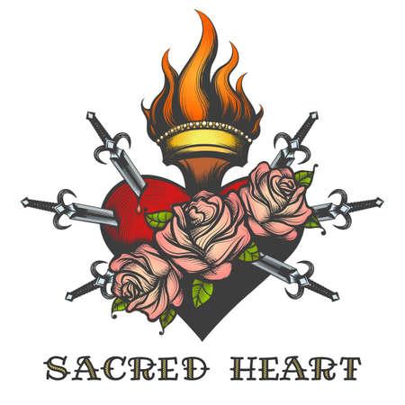 Heiliges Herz durch Schwerter im Tätowierungsstil gezeichnet. Vektorillustration