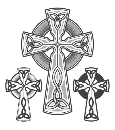 Celtic cross emblem drawn in engraving style. Vector illustration.