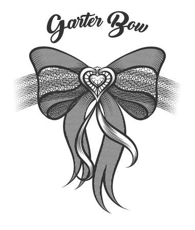Garter Bow with heart shaped brooch drawn in tattoo style. Vector illustration.