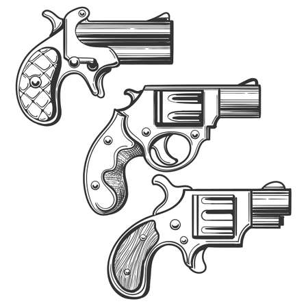 Set of retro pistols. Three pocket revolvers drawn in engraving style. Vector illustration. Иллюстрация