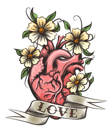 Human heart, flowers and ribbon with hand drawn lettering Love in tattoo style. Vector illustration.