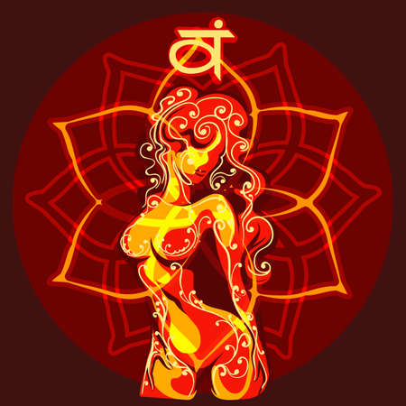 Second Svadhishthana chakra emblem with female body as sign of sexual desire and six petals lotus. Vector illustration. Stock Illustratie