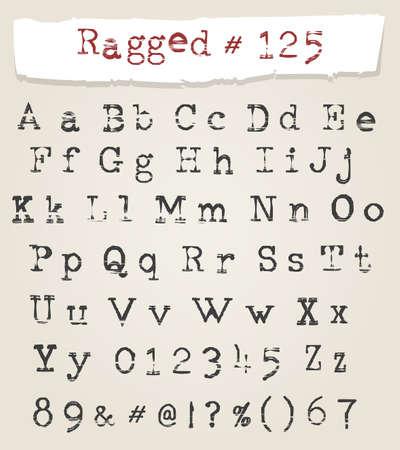 Fuente de máquina de escribir irregular dibujada a mano. Alfabeto latino de caligrafía con efectos grunge. Ilustración vectorial.