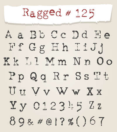 Hand Drawn Ragged Typewriter Font. Calligraphy latin alphabet with grunge effects. Vector illustration. Stock Illustratie