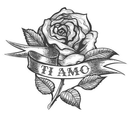 Flor rosa y cinta con la inscripción en italiano Ti Amo que significa Te amo. Ilustración de vector de estilo tatuaje.