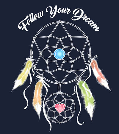 Magical indian dream catcher with wording Follow Your Dream. Vector illustration.