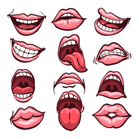 Set of cartoon mouths isolated on a white background. Variety of emotions and facial expressions. Vector illustration. Иллюстрация