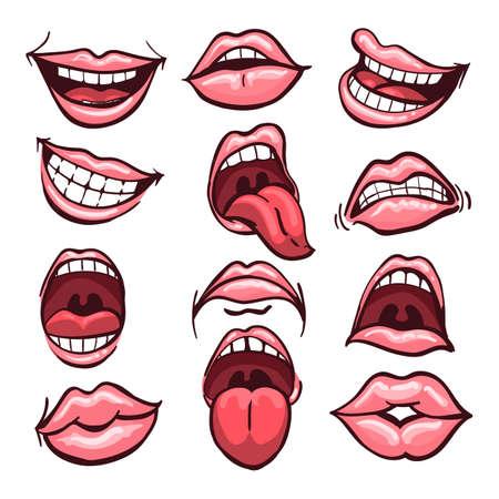 Zestaw ust kreskówka na białym tle na białym tle. Różnorodność emocji i mimiki twarzy. Ilustracja wektorowa.