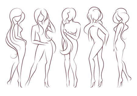 Beautiful long haired women stand in different poses. The figures of women are naked, feminine and slender. Vector illustration.