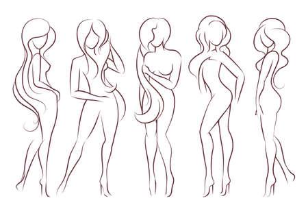 Belle donne dai capelli lunghi stanno in diverse pose. Le figure delle donne sono nude, femminili e slanciate. Illustrazione vettoriale.