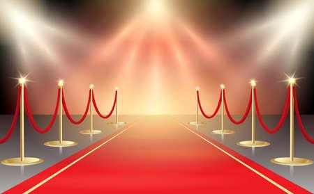 Illustrazione vettoriale di tappeto rosso in luci del palco festivo. Elemento di design dell'evento. Illustrazione vettoriale.