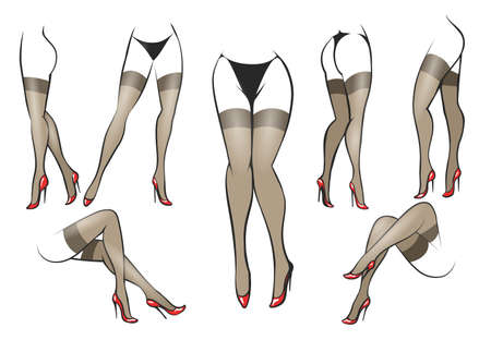 Collection of slender beautiful female legs in different poses. Legs in fashionable stockings and red high-heeled shoes. Vector illustration.