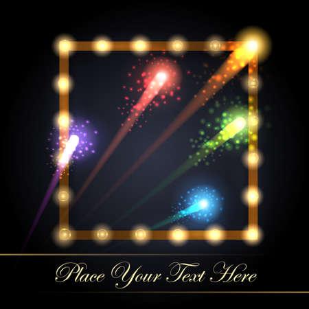 Frame with electric bulbs and festive fireworks. Presentation or Event design element. Vector illustration.