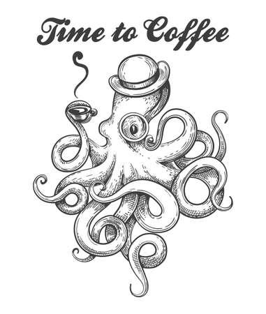 Pulpo en bombín y anteojos con taza de café en tentáculo. Estilo de tatuaje de pulpo con redacción Time of Coffee. Ilustración vectorial.