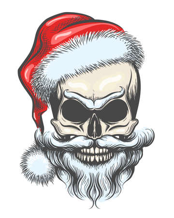 Bearded Skull in Santa Claus Hat drawn in tattoo Style. Vector illustration. Stock Illustratie