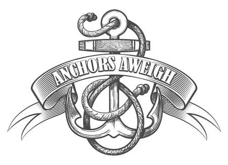 Nautical anchor in ropes and ribbon with wording Anchors Aweigh drawn in tattoo style.  Vector illustration.