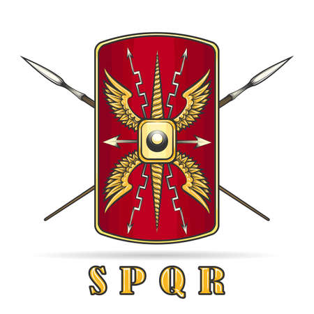 Ancient Roman Empire Warriour Shield and Crossed Spears.  Vector illustration. Illustration