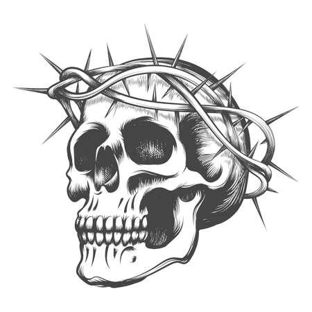 Cráneo humano en corona de espinas dibujada en estilo tatuaje. Ilustración de vector. Ilustración de vector