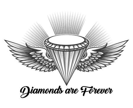 Monochrome winged diamond in engraving style with lettering Diamonds are forever. iVector illustration