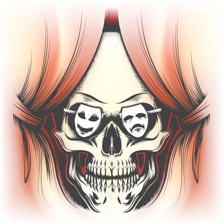 Red curtain and human skull in glasses in shape of theatre masks drawn in tattoo style. Vector illustration. 일러스트