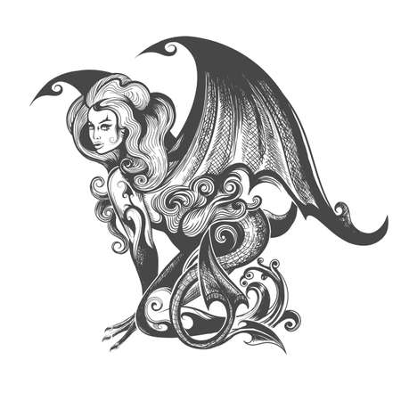 Mythological Female Demon Succubus drawn in tattoo style. Vector illustration.