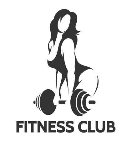 Fitness club emblem. Bodybuilder woman holds barbell. Vector illustration.
