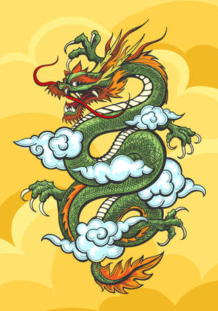 Chinese Dragon in yellow sky with blue clouds. Vector illustration.