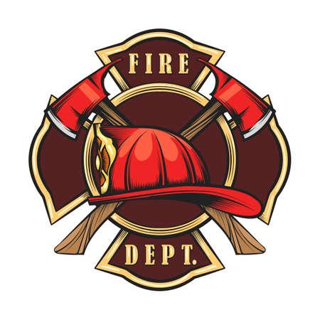 Emblème des pompiers avec casque rouge et haches. Insigne de pompier dessiné dans un style de gravure. Illustration vectorielle