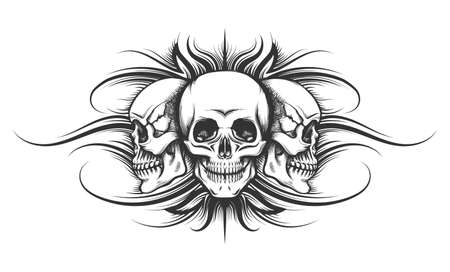 Three human skulls drawn in tattoo style. Vector illustration. Ilustração