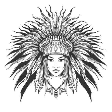 Dibujado a mano niña india en sombrero de guerra de plumas. Ilustración de vector. Ilustración de vector