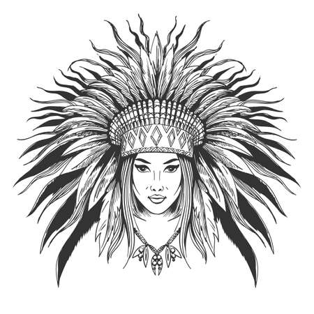 Hand drawn indian girl in feathers war bonnet. Vector illustration.