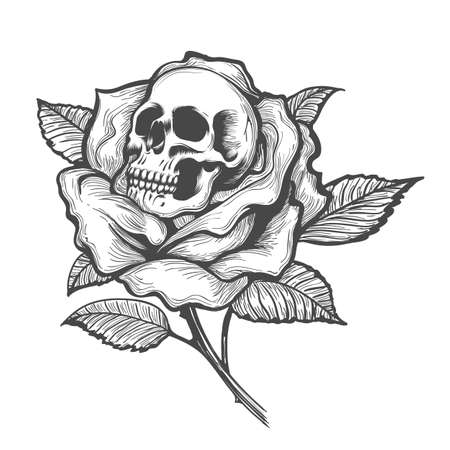 Tattoo with skull inside of Rose flower. Vector illustration.